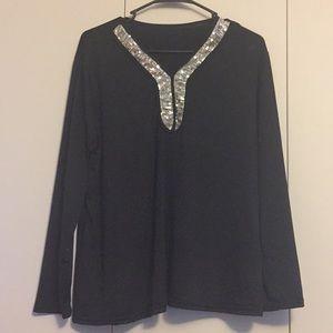 Tops - Sequin black top